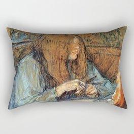 """Henri de Toulouse-Lautrec """"Madame Poupoule at Her Dressing Table"""" Rectangular Pillow"""