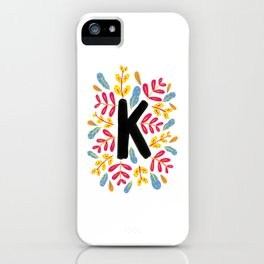 Letter 'K' Initial/Monogram With Bright Leafy Border iPhone Case
