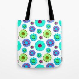 Flower Pattern-Teal Tote Bag