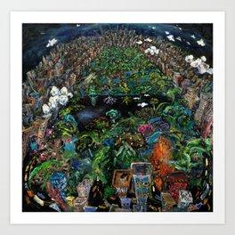 Central Park (oil on canvas) Art Print