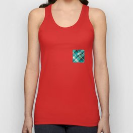 Plaid Pocket - Teal Blue/Green Unisex Tank Top