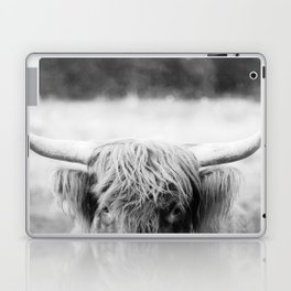 Black and White Highland Cow Laptop & iPad Skin