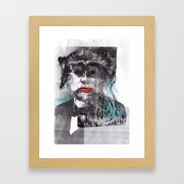 Mustache Red Lips Framed Art Print