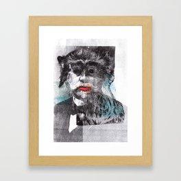Mustache Red Lips Framed Art Print