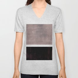 Mid Century Modern Minimalist Art Colorblock Rothko Inspired Squares Grey and Black Simple Abstract Unisex V-Neck