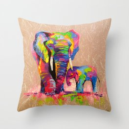Elephants mother and son Throw Pillow