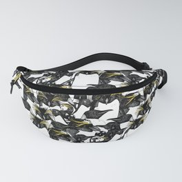 just penguins black white yellow Fanny Pack