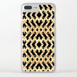 Gold Foil and Black Art Deco Chevron Clear iPhone Case