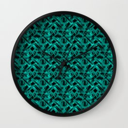 Stylish design with rotating circles and light blue rectangles from dark stripes. Wall Clock