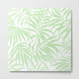 PARADISE GREEN TROPICAL LEAVES PATTERN Metal Print