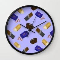 junk food Wall Clocks featuring Junk Food by Danielle Davis
