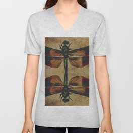 Dragonfly Mirrored on Leather Unisex V-Neck