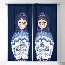 Matryoshka Doll with folk floral ornament of blue color Blackout Curtain