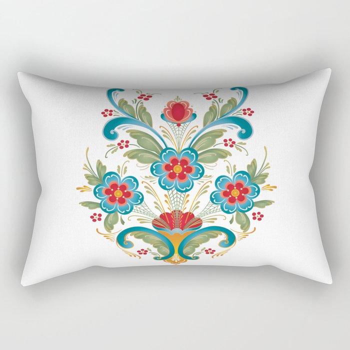 Nordic Rosemaling Rectangular Pillow