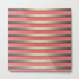 Striped Golden coral Metal Print