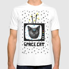 Space Cat Mens Fitted Tee MEDIUM White