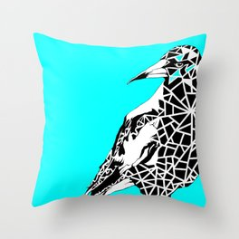 Minty Magpie Throw Pillow
