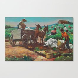 Classical Masterpiece 'Cotton Picking and Loading' by Thomas Hart Benton Canvas Print