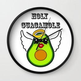 Holy Guacamole Kawaii Avocado Angel Wall Clock