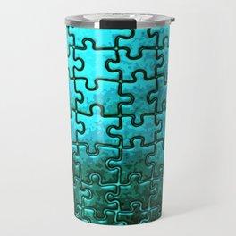 Blue puzzle design Travel Mug