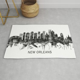 New Orleans Louisiana Skyline BW Rug