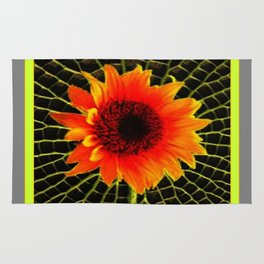 Organic Red Sunflower Grey-Lime Patterned Art Rug