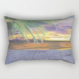 Sunset With Palm Tree Rectangular Pillow