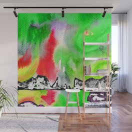 Northern Lights and Mountains - Green Palette Wall Mural