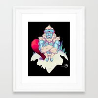 snowboard Framed Art Prints featuring Snowboard Yeti [black background] by garciarts