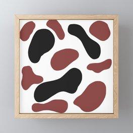 Black and burgundy cow spots Framed Mini Art Print