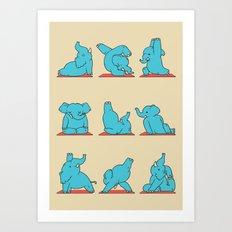 Elephant Yoga Art Print