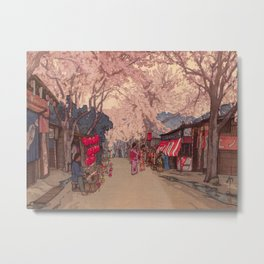 Avenue of Cherry Trees Hiroshi Yoshida Japanese Woodblock Prints Metal Print