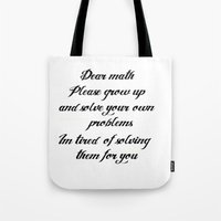 math Tote Bags featuring Math problems by BlackBlizzard