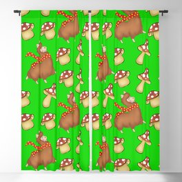 Cute happy llamas and funny little mushrooms green seamless pattern design Blackout Curtain