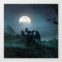 daenerys Canvas Prints featuring TOOTHLESS halloween by kattie flynn