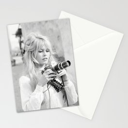 Brigitte Bardot with Camera , Vintage Actress , Poster, Style print, Fashion photography Stationery Cards