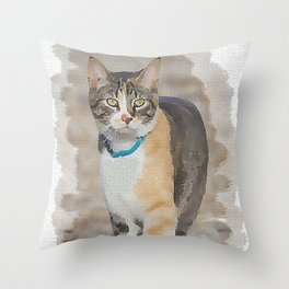 CALICO CAT WATERCOLOR Throw Pillow