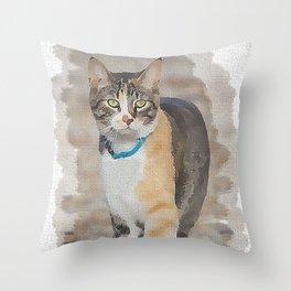 CALICO CAT WATERCOLOR Throw Pillow