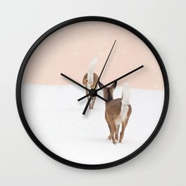 Deer in Winter on Blush Pink Wall Clock