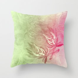 Pink and green wattle and kaleidoscope Throw Pillow