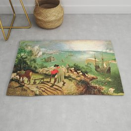 Landscape With The Fall Of Icarus Painting Pieter Bruegel The Elder Rug