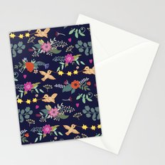 Cute vintage pattern with birds and flowers Stationery Cards