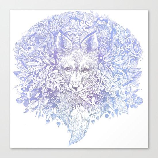 Pastel Purple Hiding Fox Drawing Canvas Print