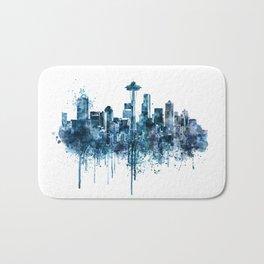Seattle Skyline monochrome watercolor Bath Mat