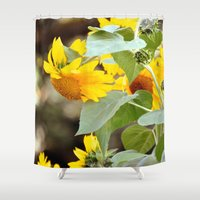 sunflowers Shower Curtains featuring SUNFLOWERS :) by Teresa Chipperfield Studios