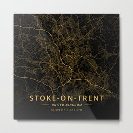 Stoke-on-Trent, United Kingdom - Gold Metal Print