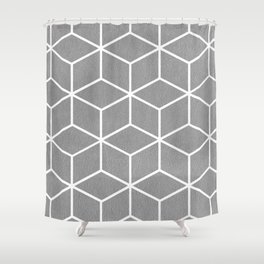 Light Grey and White - Geometric Textured Cube Design Shower Curtain