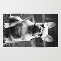 french bulldog Area & Throw Rugs featuring French Bulldog by Kathleen Follert