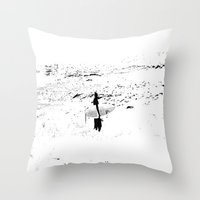 surfer Throw Pillows featuring Surfer  by Nilka Elis