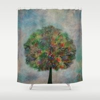 autumn Shower Curtains featuring Autumn by Klara Acel
